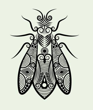 bee ornament ink drawing for tattoo design Vector