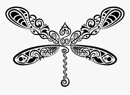 Dragonfly ink drawing for tattoo design Vector
