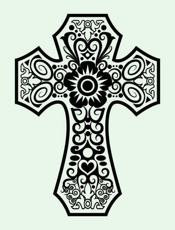 cross tattoo symbol: Symbol ornament drawing