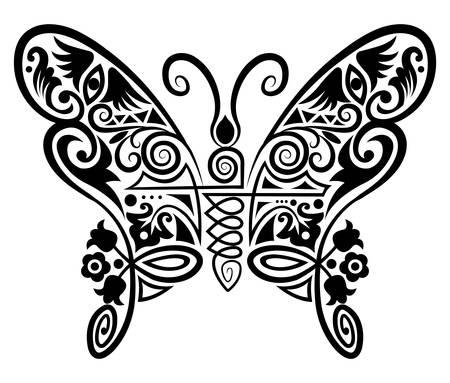 tatuaje mariposa: dibujo ornamental de insectos Vectores