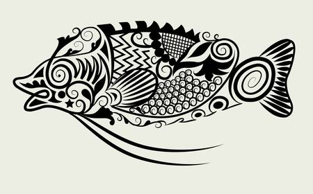 abstract fish: animal ornament drawing Illustration