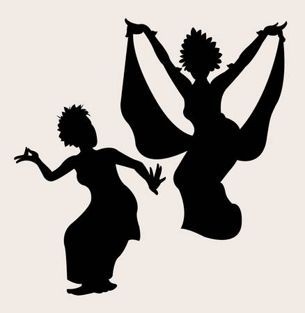 bali: dancer silhouette pose, shadow illustration style