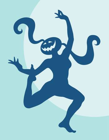 freehand tradition: Halloween dancer silhouette pose, dancing shadow illustration style Illustration