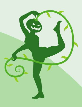 spontaneously: Halloween dancer silhouette pose, dancing shadow illustration style Illustration