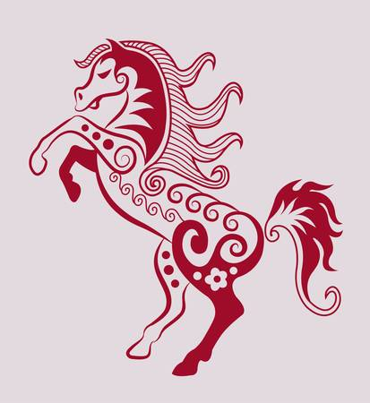 paard en flora ornamenten, blad, bloem, natuur decoratie voor tattoo ontwerpen