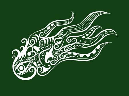 pulpo: los animales y la flora, adornos de hojas, flores, decoración de la naturaleza Vectores