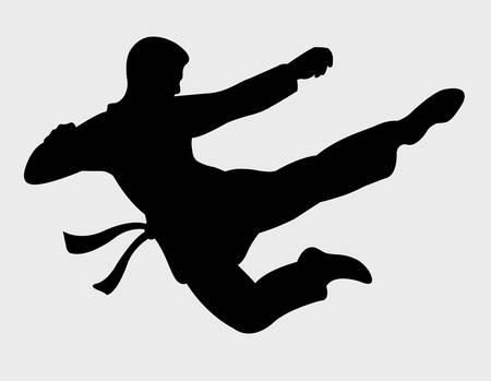 практика: красивые боевые движения тень, силуэт кунг-фу Иллюстрация