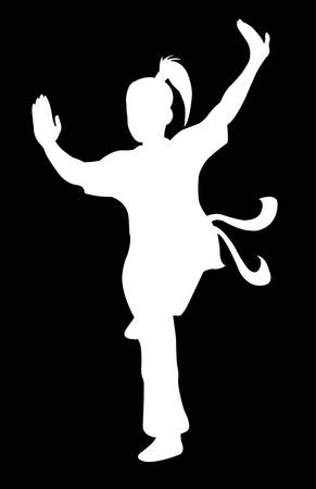 martial art: beautiful martial shadow movement, silhouette kungfu