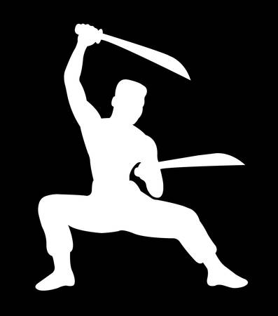 karate practice: beautiful martial shadow movement, silhouette kungfu