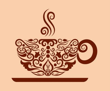 decorative a cup of coffee and floral ornament decoration Vector