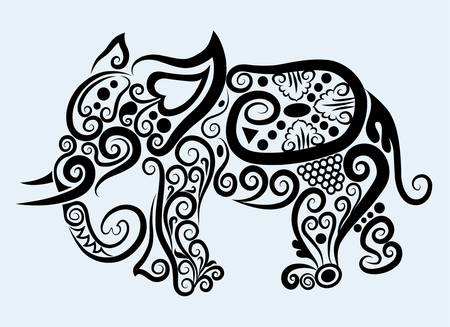 decorative mammal animal and floral ornament decoration Vector
