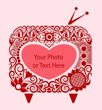 Beautiful Heart, tv, and floral ornament decoration Stock Vector - 13094613