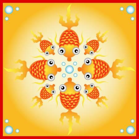naif: decorative gold fish for greeting card design Illustration