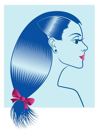 Beautiful girl with beauty salon hair Vector
