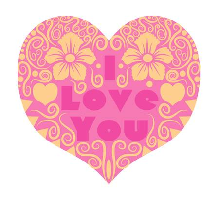 decorative heart with flora ornament, for valentine card Vector