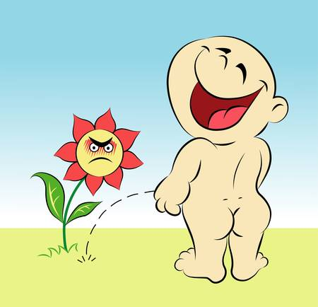 pee: Happy baby 8, funny cartoon character