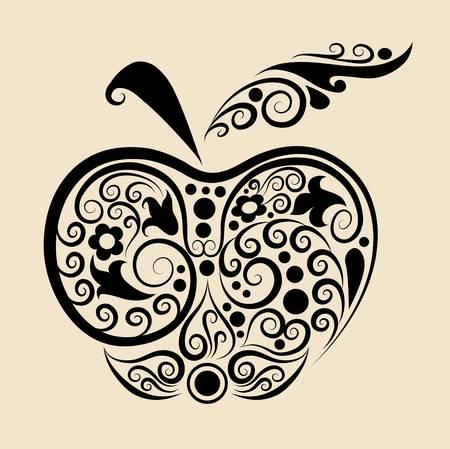 Decorative apple ornament Иллюстрация