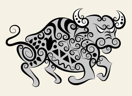 Decorative bull ornament Vector