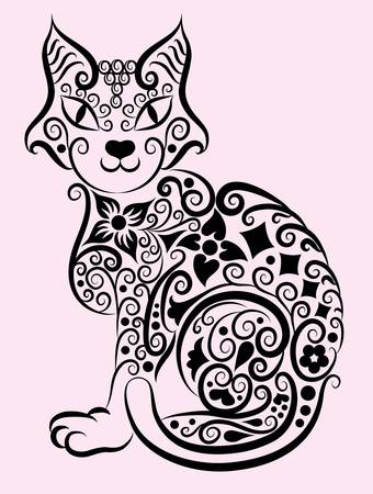 flower clip art: Decorative cat ornament  1 Illustration