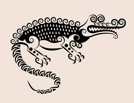 Decorative crocodile ornament Vector