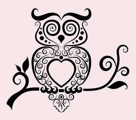 sowa: Dekoracyjny ornament sowa Ilustracja