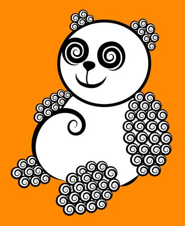 panda bear: Panda curly decorative