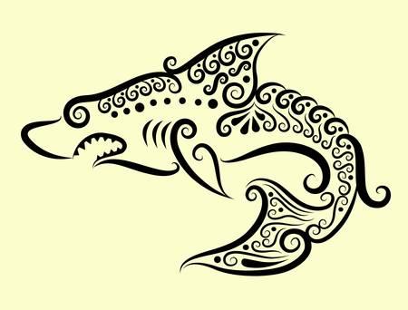 Shark decorative ornament Vector