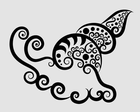 creative arts: Snail decorative ornament Illustration