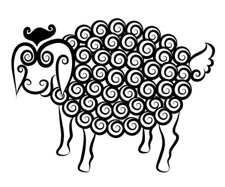 Cute sheep curl decorative  Vector