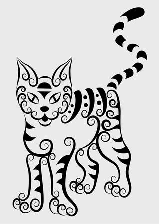 Cat decorative ornament Vector