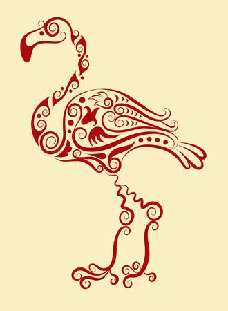 Flamingo decorative ornament Vector