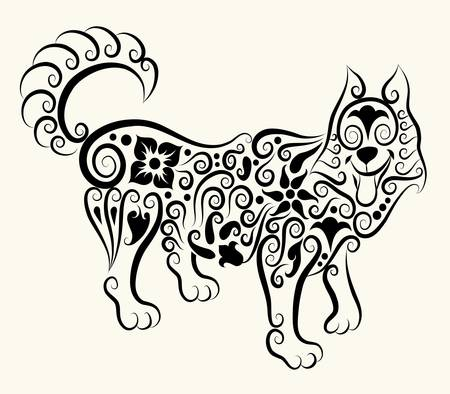 Wolf decorative ornament Vector