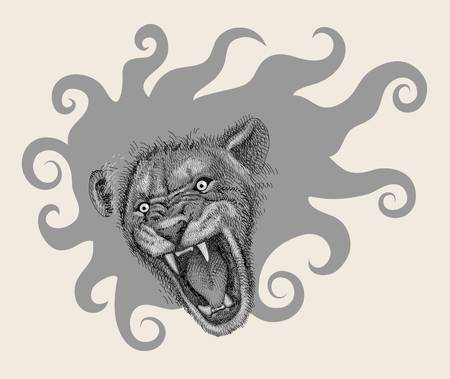 Lion head artistic drawing decorative Vector