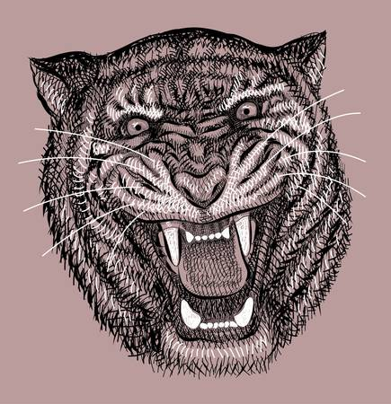 spontaneously: Tiger artistic drawing