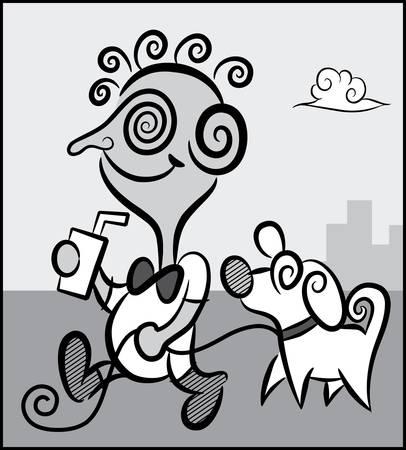 Boy and dog monochrome cartoon Stock Vector - 13778651