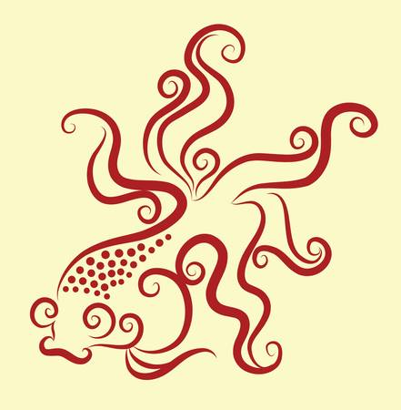 goldfish decorative ornament Vector