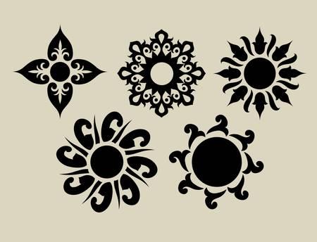 tatouage fleur: Fleurs 2 �l�ment floral pour le design textile ou d'un dessin que vous voulez Illustration