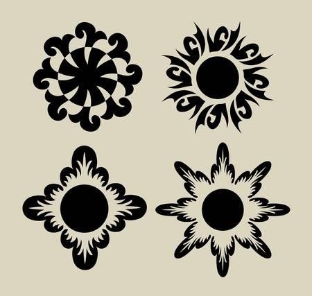 3 de la flor, para cualquier diseño o el diseño tatoo Ilustración de vector