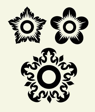Flowers 4, flora element, easy to change color Vector