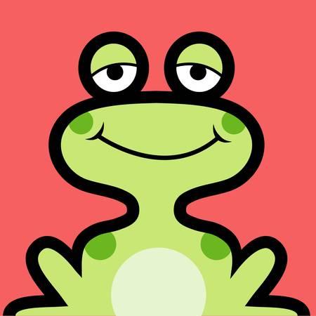 Frog avatar. Cartoon animal icon design Illustration