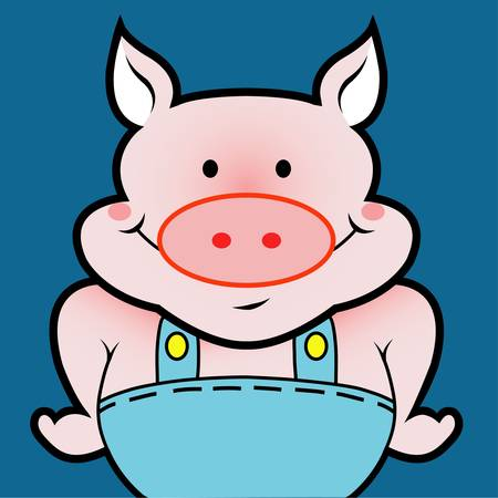 Pig avatar. Animal drawing for icon design