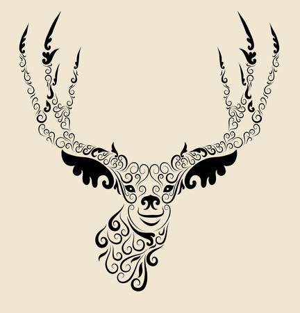motif floral: Deer ornament for t-shirt or tattoo design