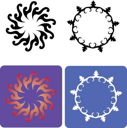 5 Flores, elementos de la flora ornamental Foto de archivo - 14613938