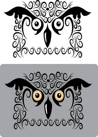 Owl ornament for tattoo or t-shirt design Vector