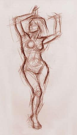 nude pretty girl: Sexy girl 1 artistic pencil sketch