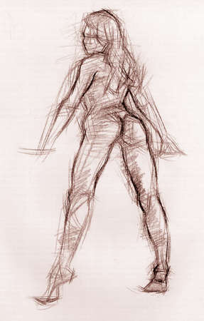 Sketch of a sexy girl