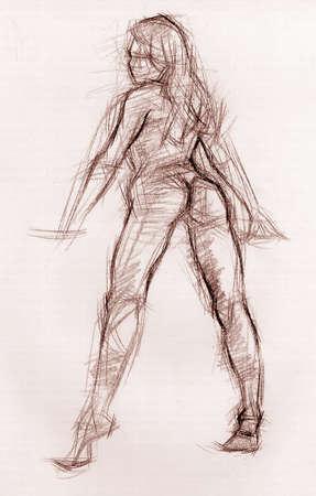 artistic nude: Sexy girl 2 artistic pencil sketch Stock Photo
