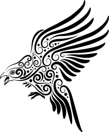 Flying bird ornament Ilustracja