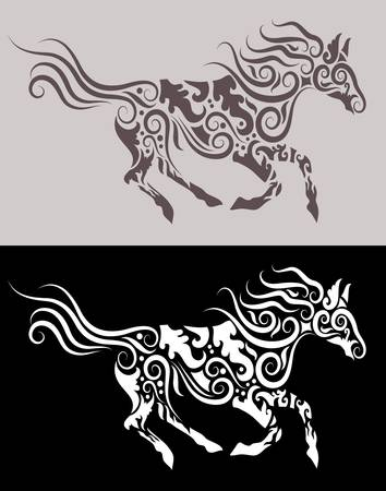 Horse tribal ornament Ilustrace