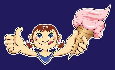 Girl with ice cream Vector